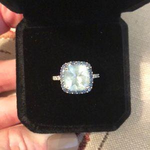 Topaz and Pave Diamond Ring